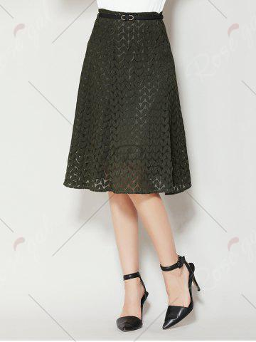 Online High Waist A Line Lace Skirt - XL ARMY GREEN Mobile