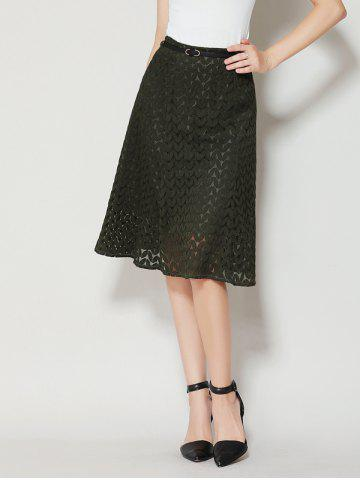 Outfit High Waist A Line Lace Skirt - XL ARMY GREEN Mobile