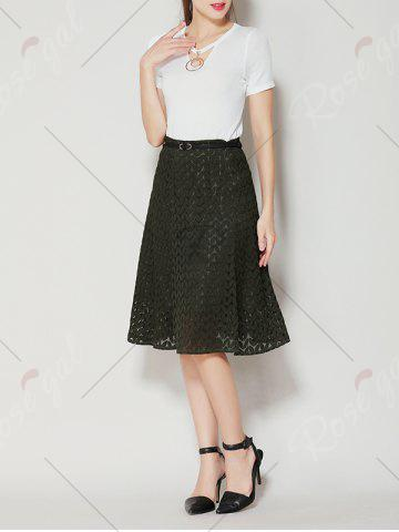 Hot High Waist A Line Lace Skirt - XL ARMY GREEN Mobile