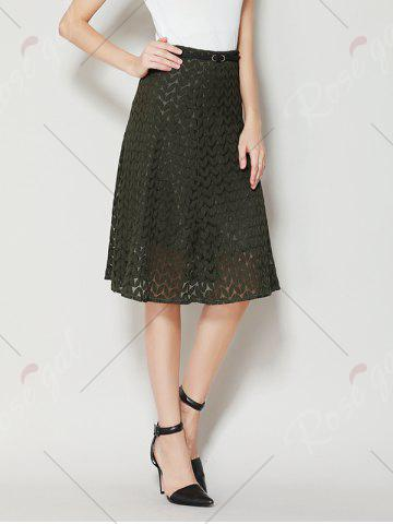 Latest High Waist A Line Lace Skirt - XL ARMY GREEN Mobile