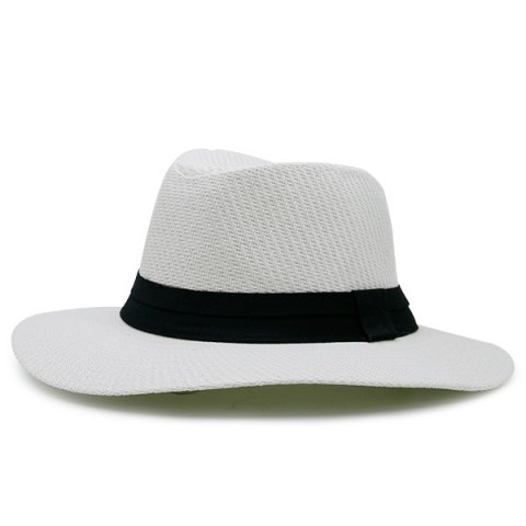 Chic Ribbon Straw Woven Fedora Hat WHITE