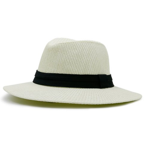 Latest Ribbon Straw Woven Fedora Hat OFF-WHITE