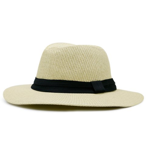 Affordable Ribbon Straw Woven Fedora Hat PALOMINO