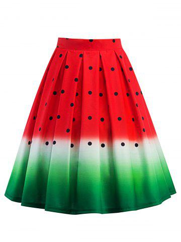 Fancy Knee Length A Line Watermelon Print Skirt RED S