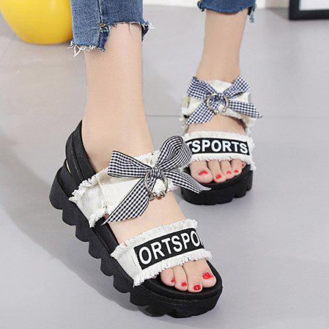 Cheap Letter Print Platform Bowknot Sandals WHITE 37