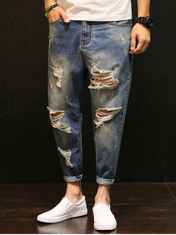 Distressed Low-Slung Crotch Faded Nine Minutes of Jeans - Blue - 42