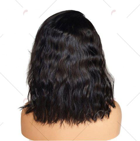 Fancy Short Side Part Towheaded Natural Wave Lace Front Synthetic Wig - 14INCH BLACK Mobile