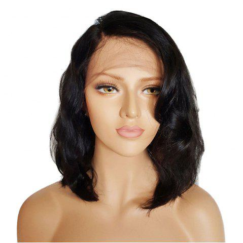 Online Short Side Part Towheaded Natural Wave Lace Front Synthetic Wig BLACK 14INCH