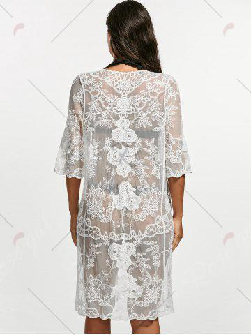 Affordable Crochet Mesh Lace Cover Up Kimono - ONE SIZE WHITE Mobile