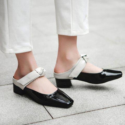 Store Knot Square Toe Mules Shoes WHITE 40