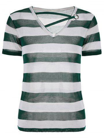 V Neck Short Sleeve Knit Striped Top - White And Green - One Size