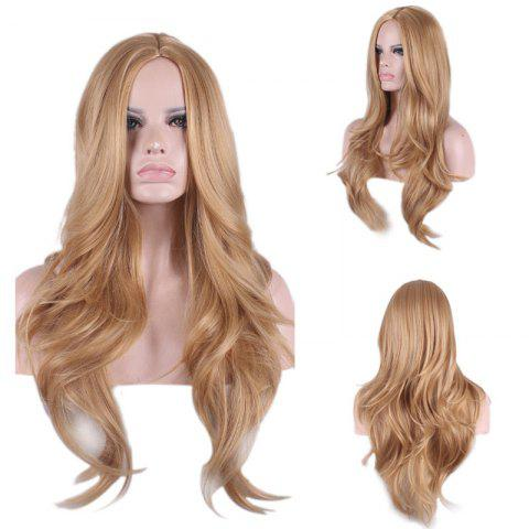 Long Center Parting Wavy Synthetic Wig - Gold Brown