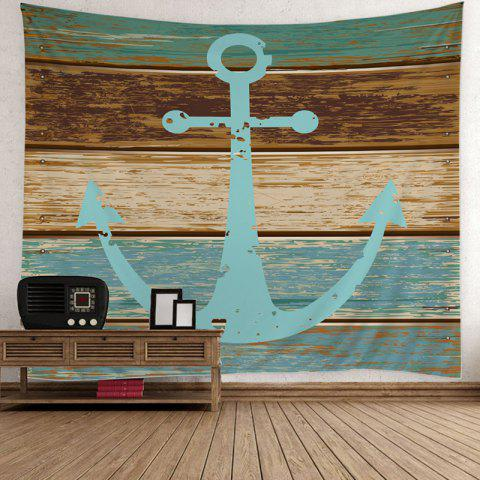 Home Decor Nautical Anchor Rustic Wood Wall Tapestry - Light Blue - W59 Inch * L59 Inch
