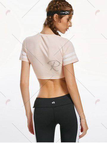 Buy Contrast Crew Neck Active Crop T-shirt - S LIGHT APRICOT PINK Mobile