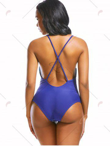 Fancy Plunging Neckline Backless Print One Piece Swimwear - S BLUE Mobile