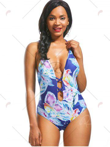 Online Plunging Neckline Backless Print One Piece Swimwear - S BLUE Mobile