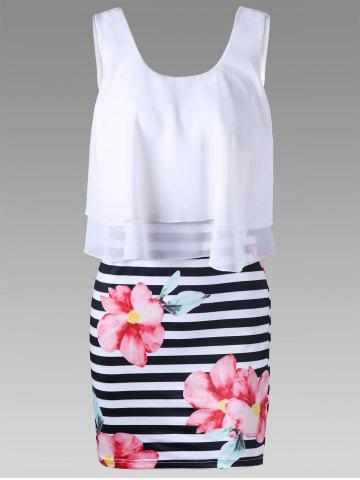 Shops Floral with Striped Tight Popover Dress WHITE 2XL