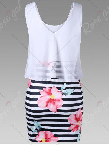 Outfit Floral with Striped Tight Popover Dress - 2XL WHITE Mobile