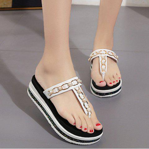 Beaded T Strap Platform Slippers - White - 38
