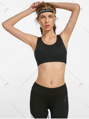 Fancy Padded Gym Bra with Straps - S BLACK Mobile