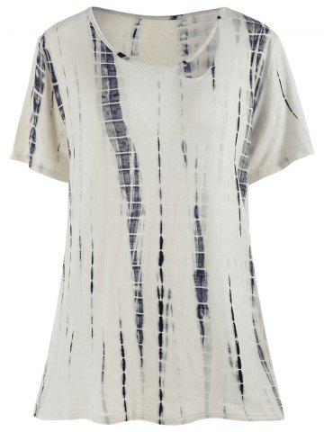 Oversized Distressed Tie Dye T-shirt - Off-white - One Size