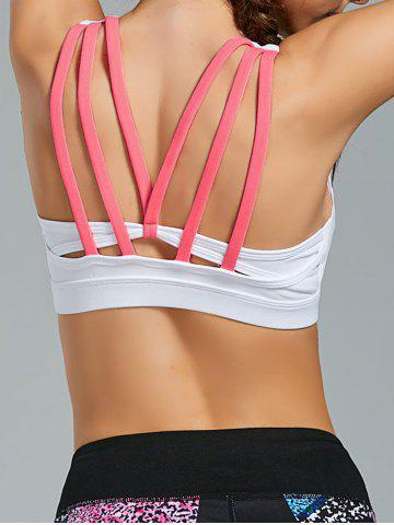 Shop Padded Gym Bra with Straps - L WHITE Mobile