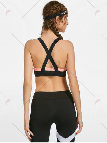 Online Contrast Back Criss Cross Workout Bra with Padded - L PINK Mobile