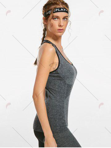 Fashion Marled Racerback Sports Tank Top - S GRAY Mobile
