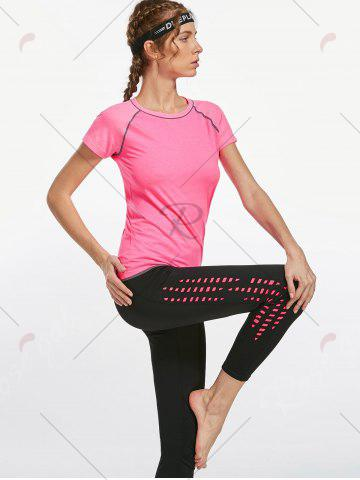 Outfits Breathable Raglan Sleeve Gym T-shirt - PINK L Mobile