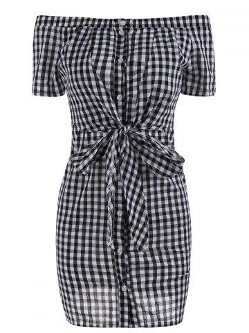 Fashion Plaid Off The Shoulder Bowknot Mini Dress BLACK WHITE XL
