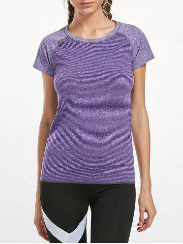 Fancy Breathable Raglan Sleeve Gym T-shirt - L PURPLE Mobile