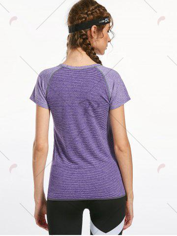 Unique Breathable Raglan Sleeve Gym T-shirt - L PURPLE Mobile