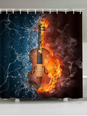 Extra Long Fire Water Guitar Waterproof Shower Curtain - Colorful - W71 Inch * L79 Inch