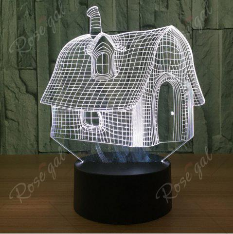 Online Color Change 3D House Shape Touch Night Light - TRANSPARENT  Mobile