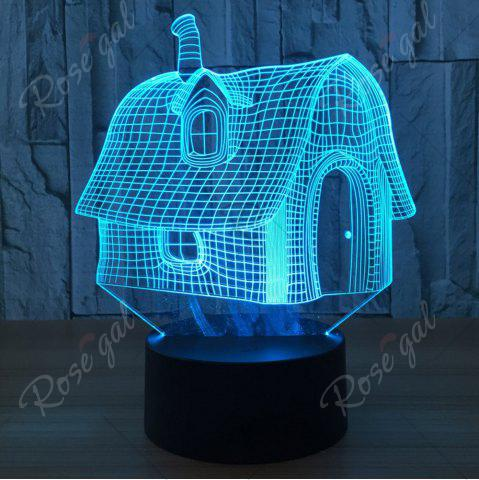 Fashion Color Change 3D House Shape Touch Night Light - TRANSPARENT  Mobile