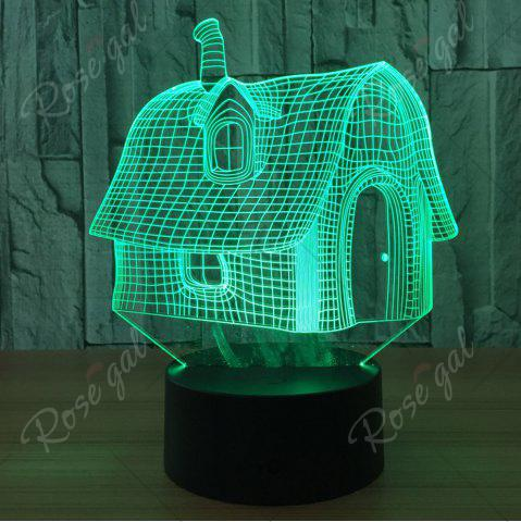 Unique Color Change 3D House Shape Touch Night Light - TRANSPARENT  Mobile