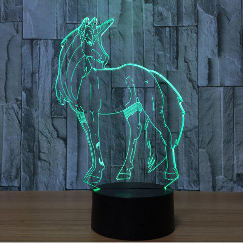 3D Unicorn Shape Color Changing Decorative LED Night Light Transparent