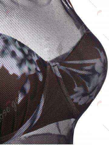 Outfits Mesh Insert Skirted Floral Swimsuit - M COFFEE Mobile
