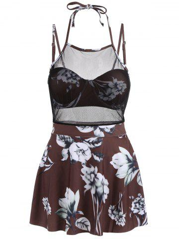 Unique Mesh Insert Skirted Floral Swimsuit - M COFFEE Mobile