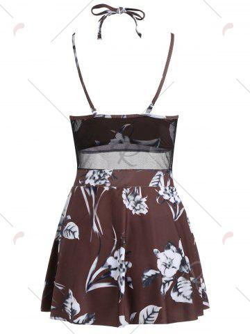 Online Mesh Insert Skirted Floral Swimsuit - M COFFEE Mobile