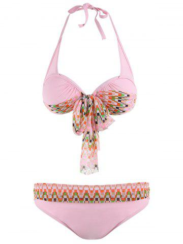 New Halter Bikini Set with Mesh Cover Up Tankini Set - M PINK Mobile