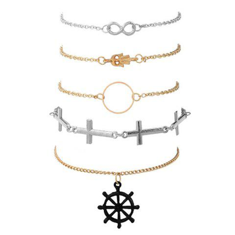 Crucifix Infinite Circle Hand Rudder Bracelet Set - Golden