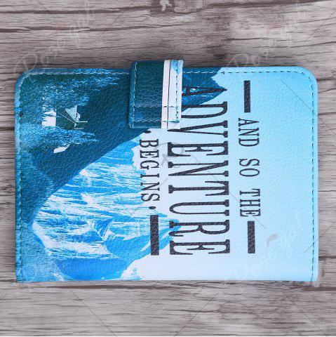 Outfits PU Leather Print Passport Holder - BLUE  Mobile