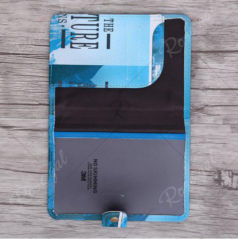 New PU Leather Print Passport Holder - BLUE  Mobile