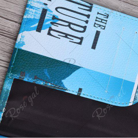 Buy PU Leather Print Passport Holder - BLUE  Mobile