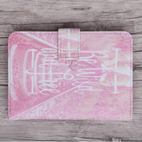 New PU Leather Print Passport Holder - PINK  Mobile