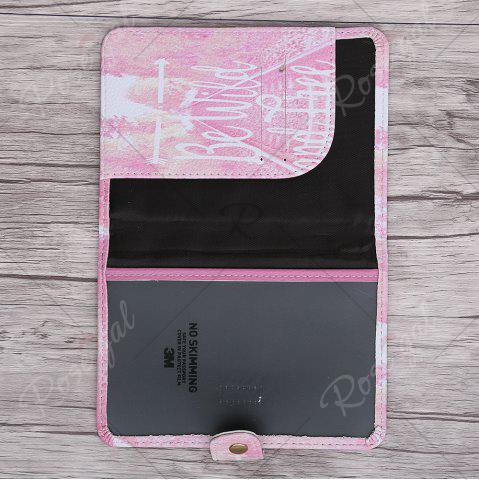 Trendy PU Leather Print Passport Holder - PINK  Mobile