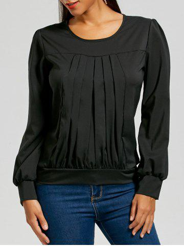 Ruched Long Sleeve Top - Black - 2xl