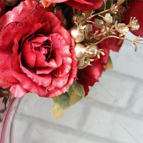 Best Home Living Room Party Decoration Vintage Artificial Flowers - RED  Mobile