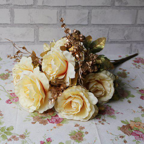 Outfit Home Living Room Party Decoration Vintage Artificial Flowers - YELLOW  Mobile